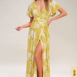 YELLOW FLORAL PRINT WRAP MAXI DRESS